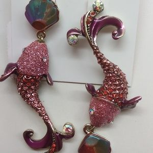 BetseyJohnsonNewHot Pink Mismatch Dolphin Earrings